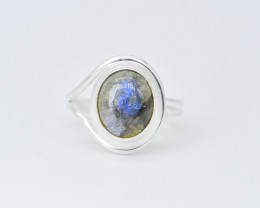 LABRADORITE   RING 925 STERLING SILVER NATURAL GEMSTONE JR84