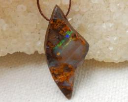 11.5cts Boulder Opal Gemstone Pendant Bead Fire, Rare Australian Opal E580