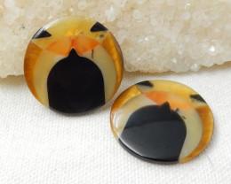 Natural Obsidian,Yellow Opal.Tiger Eyes Intarsia Cabochon Pair E551