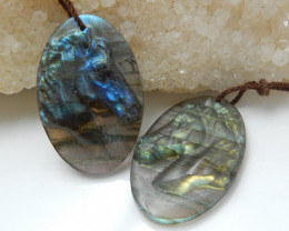 Fashion Carved Horse Earring Bead,Labradorite Earring Pair E562