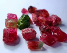 114CT 100% Natural  Pink Tourmaline Crystal Rough lot