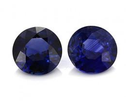 1.60 CaratTW Pair of Round Blue Sapphires: Deep Rich Blue