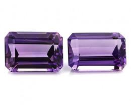 15.12 Cttw Pair of Emerald Cut Amethysts: Deep Rich Purple