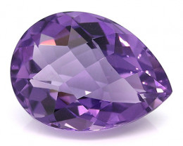 18.36 Carat Pear Shape Amethyst: Deep Rich Purple