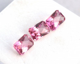 2.92 Carat Matched Trio of Fantastic Pink Tourmalines