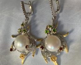 For Hugh Lustreous Pearl Diopside Rhodolite Sterling Silver .925 Earrings