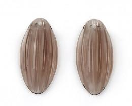 New!! Carved Smoky Quartz Flatback Gemstone Earrings, 20x10x5mm H9382