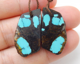 Nugget Turquoise Earrings Beads, stone for earrings making H9347