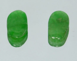 1.08 Cts Untreated Natural Burmese Jadeite Cabochon 2 Pcs