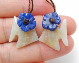 New Natural Gemstone Carved fish Amazonite with lapis lazuli ntarsia fashio