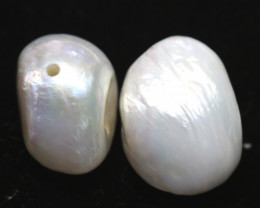 14  CTS NATURAL FRESH WATER PEARL  BEADS (2 PCS )  NP-224