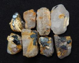 Selling 8 Pcs Raw Material,Raw Gold Rutilated Quartz Material H9473