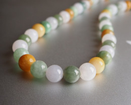 High quality multi colour jade beads necklace