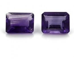 5.59 Cttw Pair of Emerald Cut Amethysts: Rich Purple