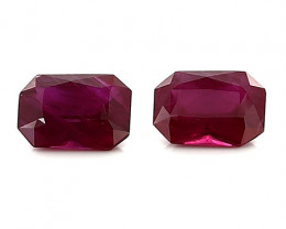 1.98 Cttw Pair of Emerald Cut Rubies: Pigeon Blood Red