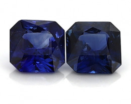 1.42 Cttw Pair of Emerald Cut Blue Sapphires: Rich Royal Blue