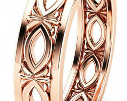 NICE ROSE  GOLD  PLATED SILVER  RING size 6