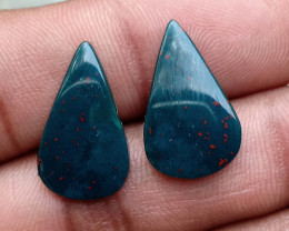 GENUINE BLOODSTONE GEMSTONE PAIR Natural+Untreated VA3743