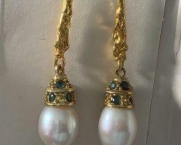 Opulent  Sapphire Pearl 14ct Yellow Gold over Sterling Silver .925 Earrings