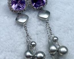 Amethyst Earring 5.94g Sterling Silver 925 Earring E1702