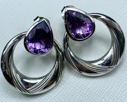 Amethyst Earring 5.70g Sterling Silver 925 Earring E1703