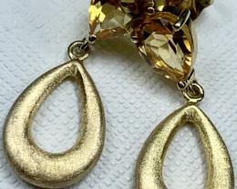 Citrine Earring 2.34g Sterling Silver 925 Gold Plating Earring E1705
