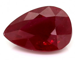 1.49 Carat Pear Shape Ruby: Deep Rich Red