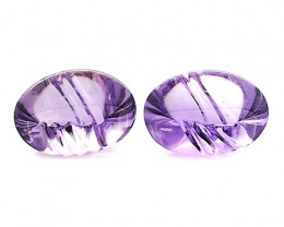 9.62 Cttw Pair of Oval Amethysts: Purple