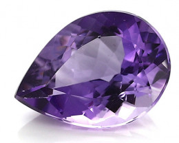 7.42 Carat Pear Shape Amethyst: Rich Purple