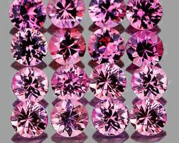 2.40 mm Round Machine Cut 16 pcs 1.11cts Pink Sapphire [VVS]