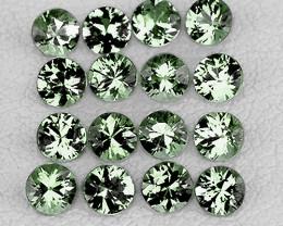 1.70 mm Round Machine Cut 35 pcs 1.02cts Green Sapphire [VVS]