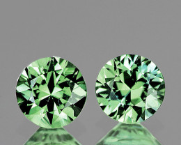 4.00 mm Round Machine Cut 2 pcs Green Sapphire [VVS]