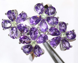 52.70 CTS AMETHYST  WITH PERIDOT SILVER RING  SIZE-8    SG-3051
