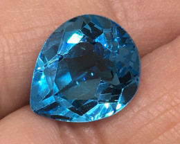 5.50 Carat VVS Topaz Pear Swiss Blue  Amazing Color and Polish !