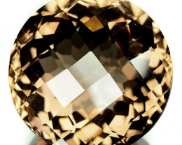 21.80 Cts Natural Champagne Quartz Round Checkerboard Brazil