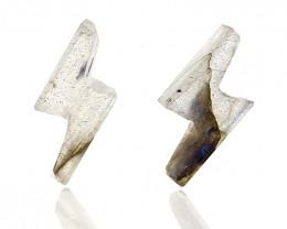 New design Labradorite Tiny Lightning Bolt Stud Gemstone Cabochon Pair H953