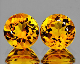 8.00 mm Round 2 pieces 3.60cts Golden Yellow Citrine [VVS]