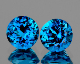 9.00 mm Round 2 pcs 6.02cts London Blue Topaz [VVS]