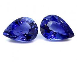 1.73 Cttw Pair of Pear Shape Blue Sapphires: Rich Royal Blue