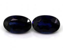 0.58 Cttw Pair of Oval Blue Sapphires: Deep Royal Blue
