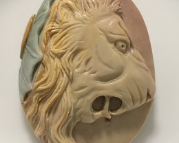 Premium Succor Creek Carved Cameo Focal Pendant Stone of a Lion 155.00cts