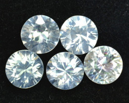 3.80 Cts Natural Sparkling White Zircon 5mm Round Cut 5Pcs Tanzania