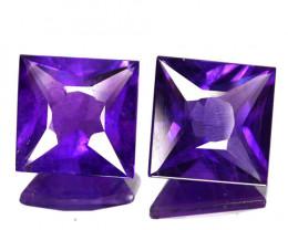 6.36 Cts Natural AAA Purple Amethyst 2Pcs Princess Cut Bolivia