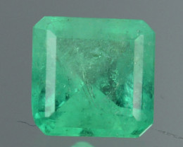 Natural Vivid Green Emerald Octagon Cut Colombia 0.55 Cts