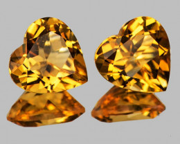 8.00 mm Heart 2 pcs 3.00cts Golden Yellow Citrine [VVS]