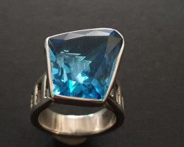 London blue topaz  designer hand crafted ring