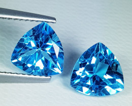 Parcel Pair of 3.85 ct Top Quality Gem Triangle Cut Swiss Blue Topaz