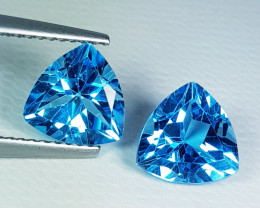 Parcel Pair of 4.11ct Top Quality Gem Triangle Cut Swiss Blue Topaz