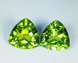 Parcel Pair of 4.21 ct  Top Quality Triangle Cut Top Natural Peridot