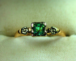 Absolute High-End IF-VVS Emerald in Antique Gold  Size 6.75 $675